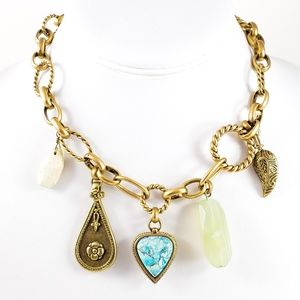 Kenneth Cole Boho Necklace Multi Pendant Gold tone